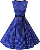 Bbonlinedress 50s Vestidos Vintage Retro Rockabilly Clásico Royalblue White Dot 3XL