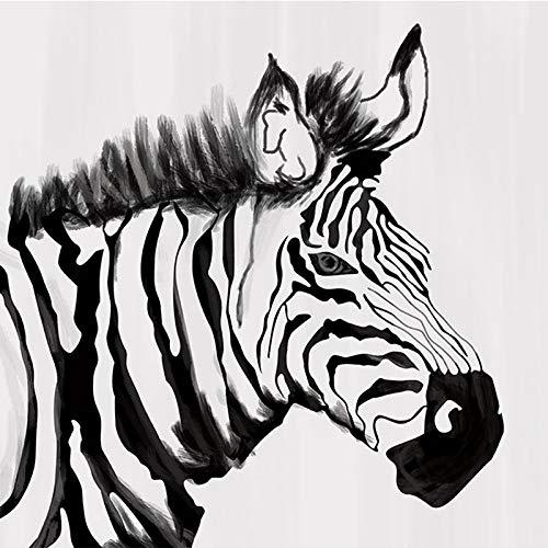 DZBHSCL 4D behang wandschilderingen, Nordic cartoon zwart wit gestreepte zebra dier Hd kunstdruk grootte wandschilderij fotobehang voor kinderkamer kinderkamer kleuterschool achtergrond muur decoratie 24in×48in 60cm(H)×120cm(W)