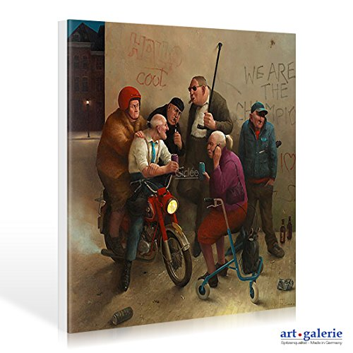 Leinwandbild Marius van Dokkum - Second Youth - 100 x 100cm - Premiumqualität - , Karikatur, Senioren, Alt-Rocker, Motorrad, Rollator, Graffiti, cool, lustig, komisch, Wo.. - MADE IN GERMANY - ART-GALERIE-SHOPde