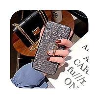 人気度高級ダイヤモンドグリッターフィンガーホルダーiphoneX XR XS MAX 7 8 6splus用ソフトエッジ電話ケースsamsungS8 S9S10注8用-gray-for iphone 8
