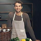 Happylohas Sterne Schürze mit Tasche Baumwolle Leinen Damen Küchenschürze Latzschürze Kochschürze zum Kochen oder Backen beige - 6