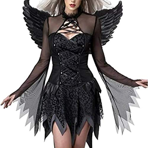 Fallen Angel Costumes, Women's Halloween Dark Fallen Angel Corset Dresses Black Fallen Angel Corset Dresses Costumes with Angel Wings (Medium)
