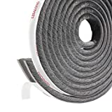 fowong Adhesive Pile Weather Stripping, 11/32 inch x 11/32 inch x 16 Feet, High Density Fuzzy Door Brush Strip for Sliding Sash Door Window Wardrobe Seal (Grey)