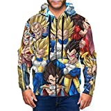 Pano Men Anime Veg!ETA Jacket Comfortable Zipper Hoodie 3X-Large Black