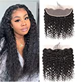 West Kiss Brazilian Deep Wave 13'x4' Lace Frontal Pre Plucked Virgin Human Hair 100% Unprocessed Natural Color (14 inches lace frontal)