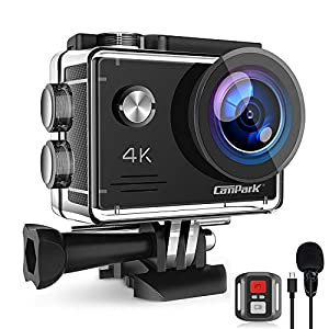 Campark X5 4K Action Camera 20MP WiFi Anti-Shake EIS Waterproof 40M Sports Camera with External MIC Remote Control 2 Rechargeable Batteries and Mounting Accessories