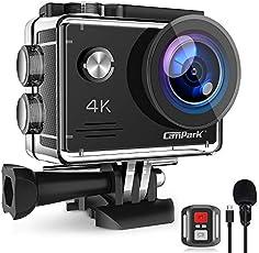 Campark 4K 20MP Action Cam con EIS Telecomando Microfono Esterno WiFi Videocamera Subacquea 40M 2 Batterie e Kit Accessori