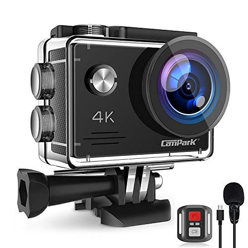 Campark Action Cam 4K 20MP WiFi Unterwasserkamera mit EIS Fernbedienung Externem Mikrofon Webcam wasserdichte 40M Helmkamera