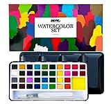 Set Acuarelas Profesionales 36 Colores Nazca Colors – Caja Metálica + Pincel y Aqua Brush – Kit Portátil Ideal para Láminas, Uñas, Bullet Journal – Óptimo para Principiantes, Estudiantes y Aficionados