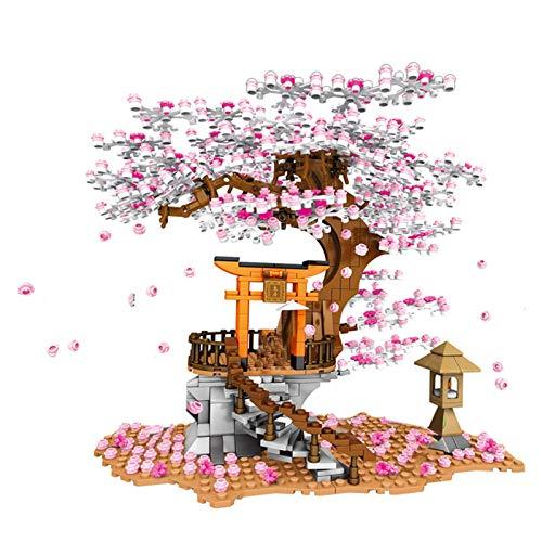 Hbao City Street View Idea Sakura Bricks Friends Cherry Blossom Technic Creator Casa Árbol Bloques de construcción Juguetes (Color : B)