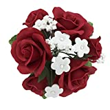 Global Sugar Art Garden Rose Sugar Cake Flowers Topper Bouquet, Red with White Filler Flowers, 1 Count, by Chef Alan Tetreault