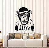 Etiqueta de la pared Pegatinas de pared Mono con gafas Decoración del hogar Se puede mover Vinilo Decoración de arte Habitación de los niños Mural Regalo de Navidad 57X71Cm Calcomanías de pared