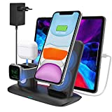 Caricatore Wireless Caricabatterie Senza Fili Qi Supporto 4 in 1 Stazione di Ricarica Docking Station per iPhone 11/11 Pro Max/X/XS Max/8 Apple Watch 5/4/3/2/1 Airpods Pro/2/1 (Include adattatore)