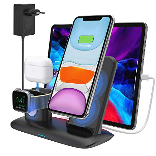 bossgo Kabelloses Ladegerät Qi Wireless Charger Induktive Ladestation Stand für iPhone 11/11 Pro Max/X/XS Max/8 Apple Watch 5/4/3/2/1 Airpods Pro/2/1 (Inklusive Adapter)