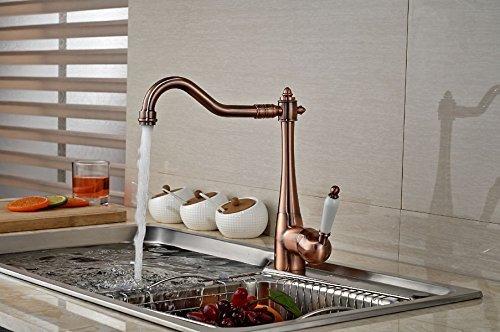 Rozinsanitary - Rubinetto miscelatore a beccuccio lungo girevole, a bocca singola, per lavandino della cucina e del bagno, finiture in rame, colore: rosso