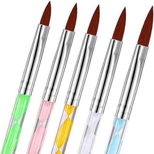 5Pcs UV Gel Acrylic Nail Brush Set for Nail Art Tips, Feugole Sliver Painted Nail Art Builder Dotting Brush for Nail Painting