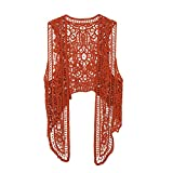 Pirate Curiosity Open Stitch Cardigan Boho Hippie Crochet Vest (Umber, Large)