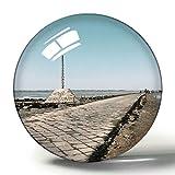 Hqiyaols Souvenir Barbatre France El Pasaje del Gois Imán de Nevera de Recuerdo 3D Imanes de Nevera de Cristal de círculo de Regalo de Viaje