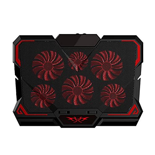 Yunyan Cojín de refrigeración para ordenador portátil, 6 ventiladores LED negros y rojos, potente flujo de aire, soporte ajustable para ordenador portátil