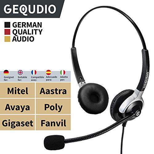 Business Headset geeignet für Mitel®, Aastra®, Avaya®, Polycom®und Fanvil® Telefone mit RJ-Anschluss | Anschlusskabel inklusive | 80g leicht