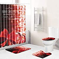 クリスマスシャワーカーテン4セット、滑り止めの敷物のトイレの蓋のカバー、洗えるバスマットと耐久の防水バスカーテン、明るいパターンのバスルームの装飾 Red wine-Medium