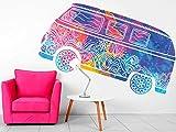 Vinilo Decorativo Pared Espiritual Furgoneta Hippie Colores | Varias Medidas 155x81cm |...
