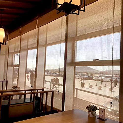 Mnjin Modedekoration Orientalisches Bambus-ähnliches natürliches Fenster Rollo, Bambus Jalousien, Sonnenschirm Vorhang Balkon Dekoration, anpassbar, natürliche römische Rollos für Fenster/Tür /