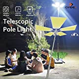 CONPEX Outdoor Camping Light Telescopic Fishing Rod Pole Light 110W 11000LM Foldable Work Light Multi-Modes for Travelling BBQ Party Emergency Light Court Backyard Farm(5 Pads Light)