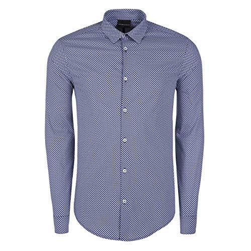 Emporio Armani Mens BEWE Weiss/Blau Langärmelige Hemden XXL