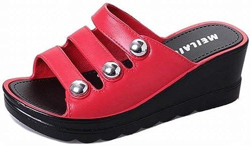 Hhor Slope avec des Sandales et et des Pantoufles pour Femmes Sandales Dicksandalen pour Femmes (Couleuré   Rouge, Taille   38)  Réponses rapides