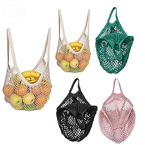 Reusable Mesh/Produce Bags,Premium Eco Friendly Washable Organic Natural Cotton Mesh Long Handle Shopping Bag with & Storage of Fruit, Veggies, Grocery, Beach,Tools,Kitchen & Toys (5PCS)
