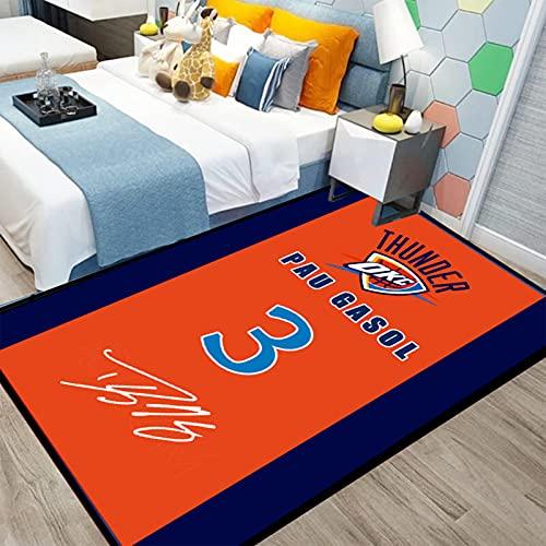 Thunder 3# Gasol - Alfombra de baloncesto para decoración del hogar, para niños y niñas, dormitorio, de fibra de poliéster antideslizante, esterilla de yoga de gasolina, 200 x 300