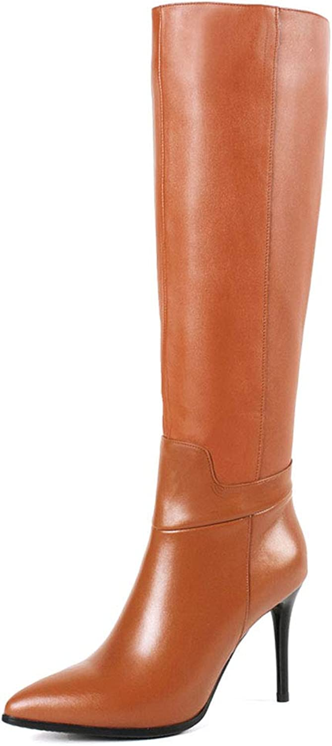 MERUMOTE Women's Knee Boots Leather Thin Heels shoes Dress Party Winter Knee High Boots