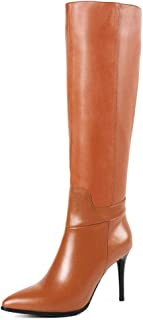 Women's Knee Boots Leather Thin Heels Shoes Dress Party Winter Knee High Boots