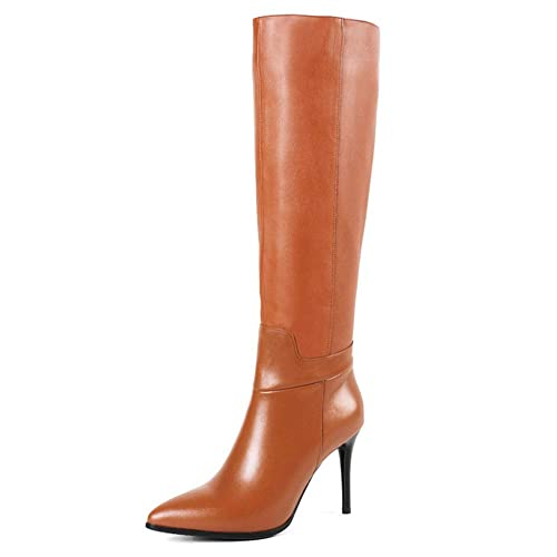 27b7747e2485 VOCOSI Women's Leather Knee High Boots Pointy Toe Side-Zip High Heels Dress  Boots