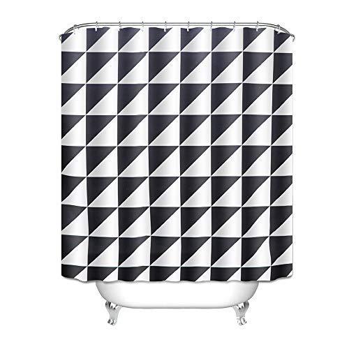 htovila Duschvorhang Anti-Schimmel Wasserdicht mit 12 Duschvorhangringe aus Waschbar Polyester, 180x180 cm Dreieckig Muster