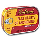 Roland Foods Flat Anchovy Fillets Packed in Olive Oil, Wild Caught from Morocco, 14 OZ Can (Pack of 2)