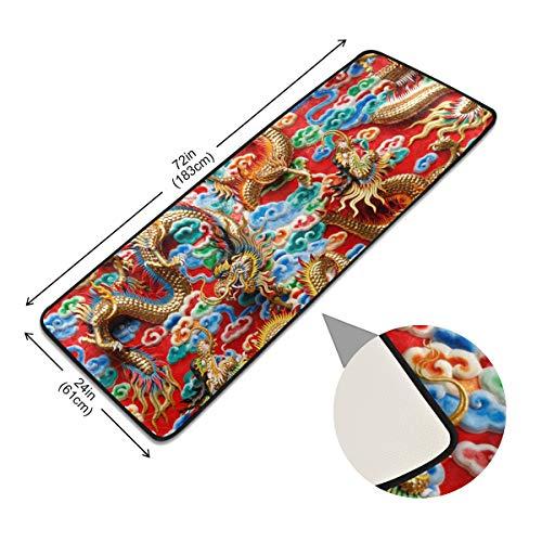 Pads vloerbedekking, antislip deurmat, kantoor, tapijt, vintage, Aziatische Chinese dragon