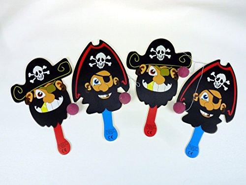 diverse WU060470, 4 Stück Paddel Ballspiel Pirat 2 Modelle, Holzschläger mit Ball an Gummiband, tolles Freizeitspiel, Geschicklichkeitspiel
