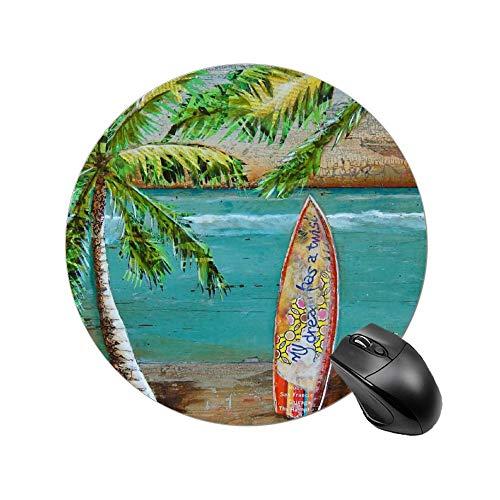 Alfombrilla de ratón redonda cómoda para ratón óptico Mousepad Beach Collage Surf Art