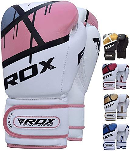 RDX Guantes de Boxeo Mujer para Entrenamiento y Muay Thai | Maya Hide Cuero Mitones para Kick Boxing, Sparring | Boxing Gloves para Combate Training, Saco Boxeo