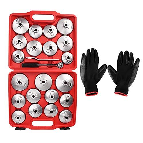 23-teiliges Ölfilterschlüssel-Set + 1 Paar Handschuhen, Werkzeug-Set für Garage, Ölfilter.