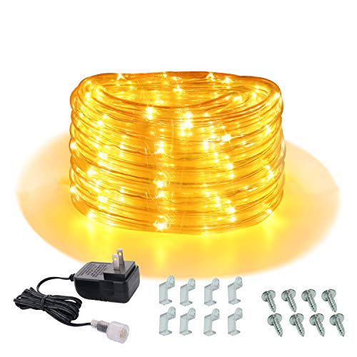 Areful 16ft Rope Lights Outdoor, 12v Low Voltage Strip Lights, Plug in Tube Lights with Adaptor, Yellow LED Lights, Connectable and Waterproof for Camping, RV, Garden, Bedroom, Kitchen, Christmas