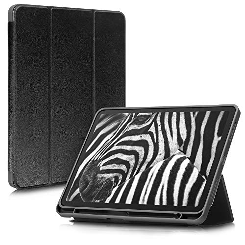 kwmobile Case Compatible with Apple iPad Air 4 (2020) - Protective PU Leather Smart Cover for Tablet with Pen Holder and Stand - Black
