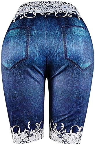 Fake-Jeans-Shorts In ÜBergröße Für Damen Knielange Yoga-Shorts Mit Schmetterlings-Print High Waist Workout Tummy Kurze Bikerhose (4XL,Dunkelblau 1)