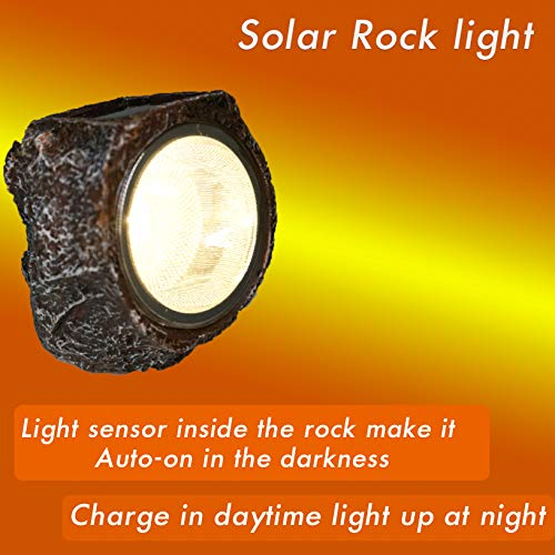 Solar Rock Light Led 4 Pack Waterproof Garden Stone Lights Outdoor Landscaping Spotlights, Yard Patio Pathway Driveway …