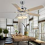 Modern Crystal 52-Inch Ceiling Fan Light, Quiet Indoor Bedroom Living Room Decoration Chandelier Ceiling Fan, Remote Control 3 Wind Speed 5 Reversible Silver Blade, Silver Finish