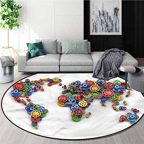 Cheap RUGSMAT Industrial Machine Washable Round Bath Mat,Gear Map Art Design Non-Slip Fabric Round R...