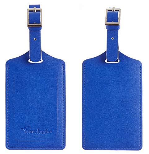 Red Beach Luggage Tags with Leather Strap Set of 2
