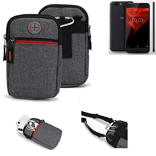 K-S-Trade® Gürtel-Tasche Für NOA H10le Handy-Tasche Schutz-hülle Grau Zusatzfächer 1x